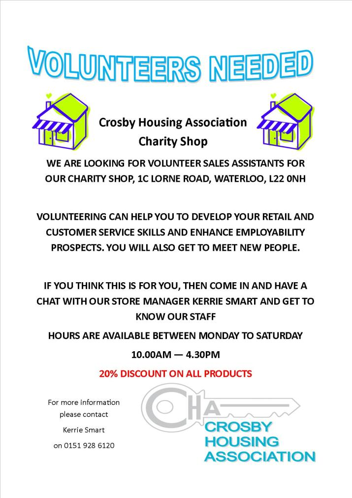 Charity Shop Poster Volunteers July 16